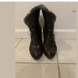 7 for all mankind leather and faux fur wedge boot